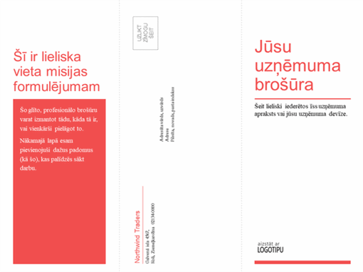 Trīskārt locīta brošūra uzņēmumam vai medicīnas nozarei (sarkans, balts noformējums)