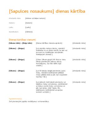 Uzņēmuma sapulces darba kārtība (oranžs noformējums)