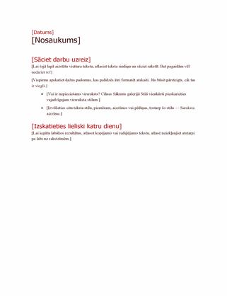 Projekta plāna struktūra treknrakstā