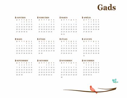 Putnu gada kalendārs (Pirmd.-Sv.)