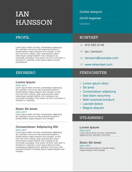 CV med fargeblokk