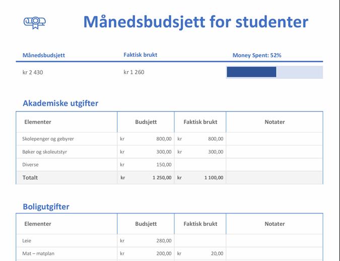 Månedsbudsjett for studenter