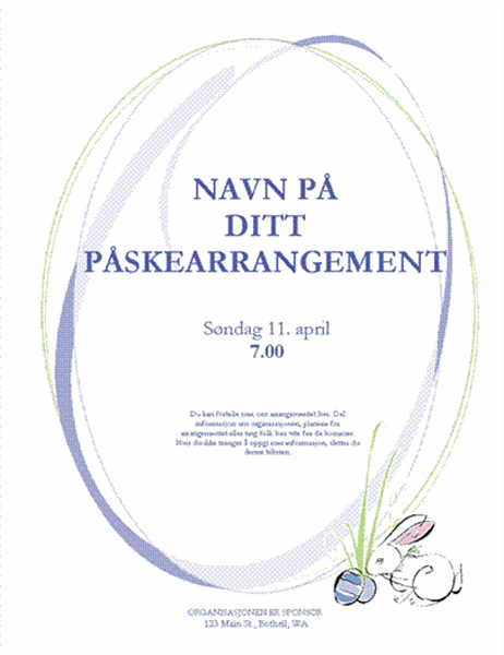 Flygeblad for påskearrangement (med hare)