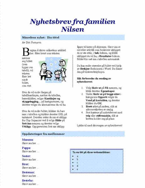 Nyhetsbrev fra familie (2 sider)