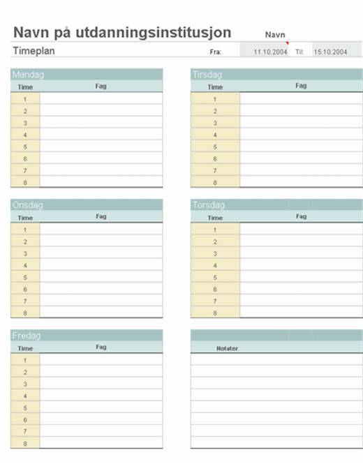 Lærers ukentlige planer for klassen