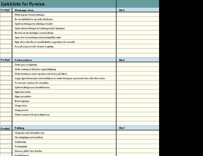 Sjekkliste for flyreise