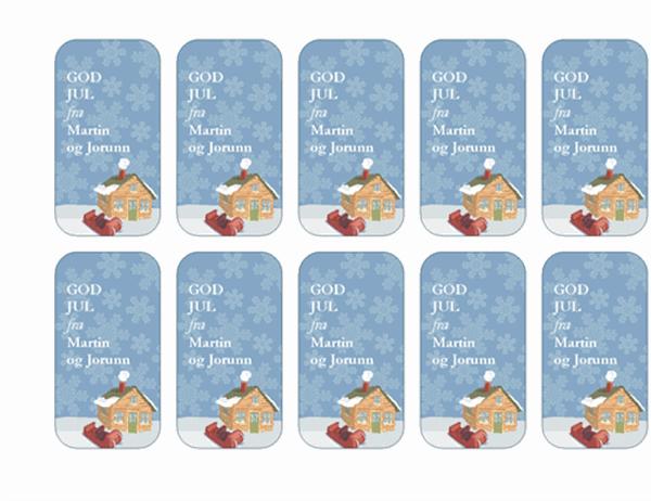Pakkelapper til jul (med gårdsbruk i vinterskrud, kan brukes med Avery 5871, 8871, 8873, 8876 og 8879)