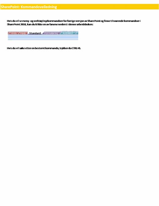 Referansearbeidsbok for båndet i SharePoint Server