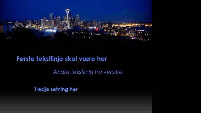 Animerte tekster beveger seg og skifter farge over Seattles bylandskap