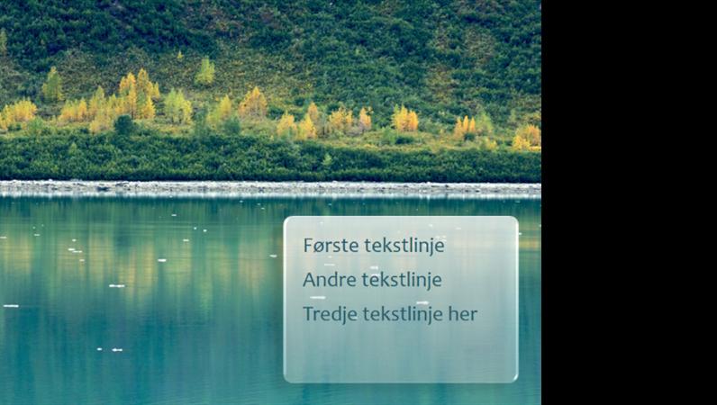 Animerte tekster tones inn i bildet over skogsbakgrunn