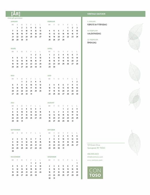 Kalender for små bedrifter (alle år, man–søn)
