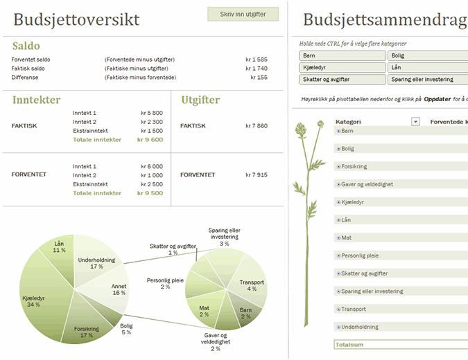 Familiebudsjett (månedlig)