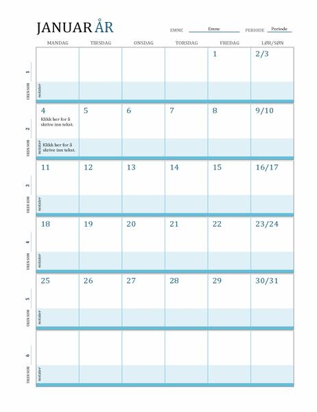Timeplan-kalender