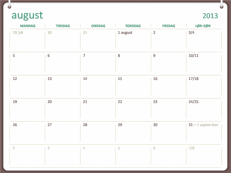 Akademisk kalender for 2013-2014 (august)