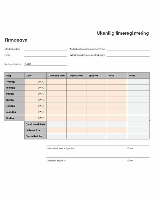 Ukentlig timeliste (8 1/2 x 11, stående)