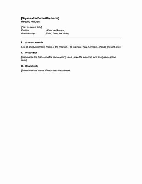Referat fra organisasjonsmøte (kort versjon)