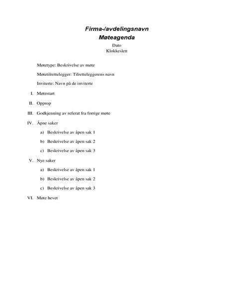 Formell møteagenda