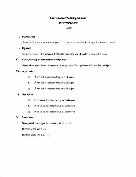 Formelle møtereferat