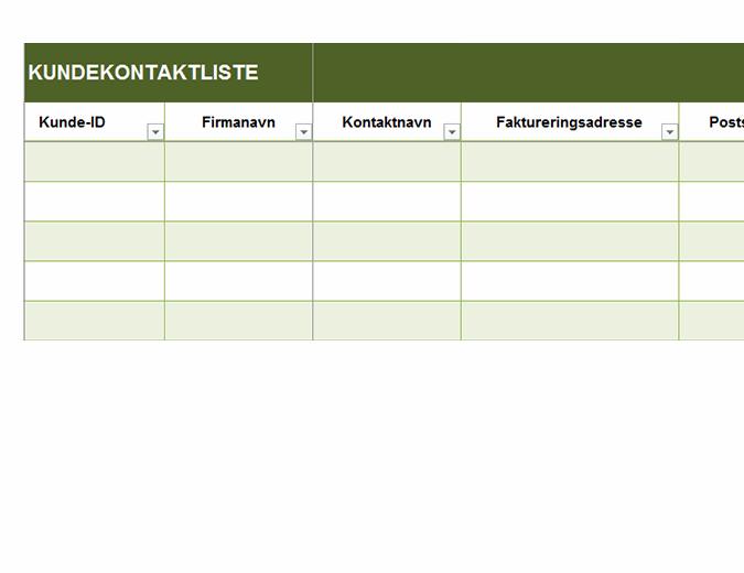 Grunnleggende kundekontaktliste
