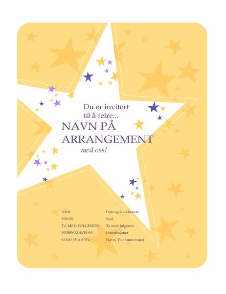 Flygeblad for invitasjon til fest