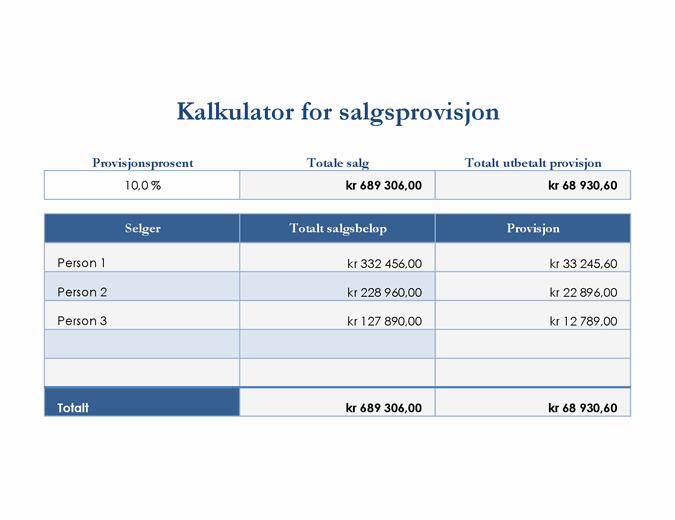 Kalkulator for salgsprovisjon
