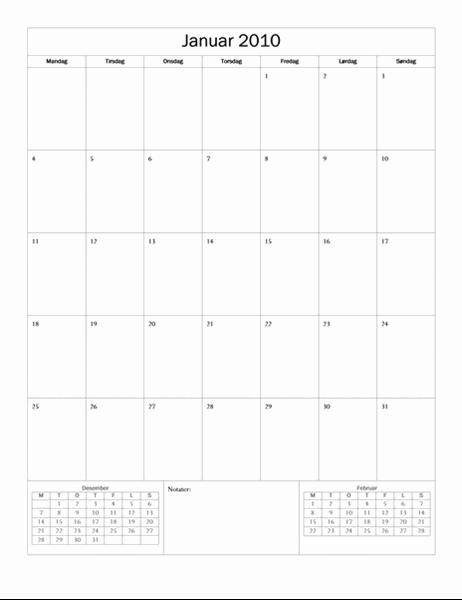 2010-kalender (enkel utforming, mandag til søndag)