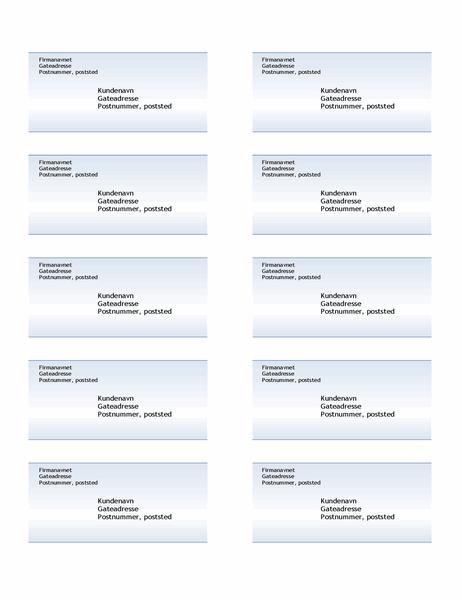 Adresseetiketter (utforming med blå gradering, 10 per side)