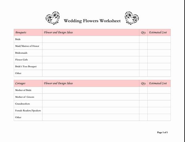 Planlegger for bryllupsblomster