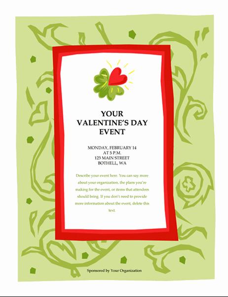 Flygeblad for valentinsdagsarrangement