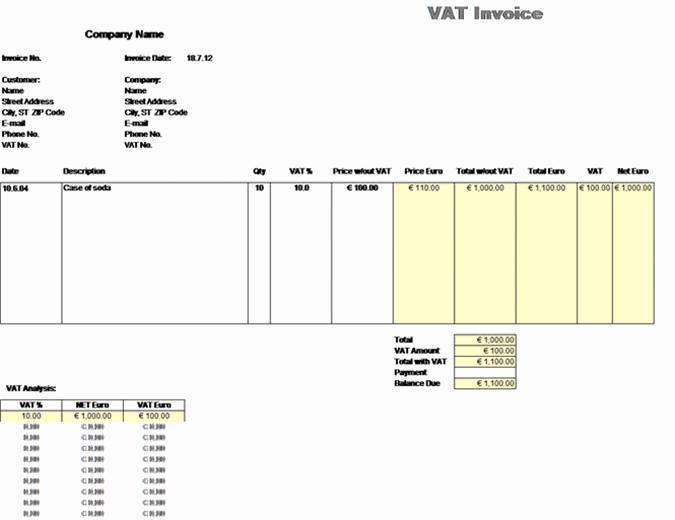 MVA-faktura – pris uten avgifter