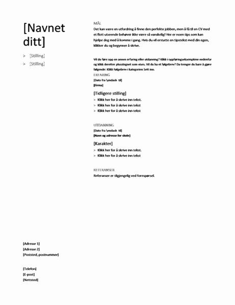 Kronologisk CV (Enkel utforming)