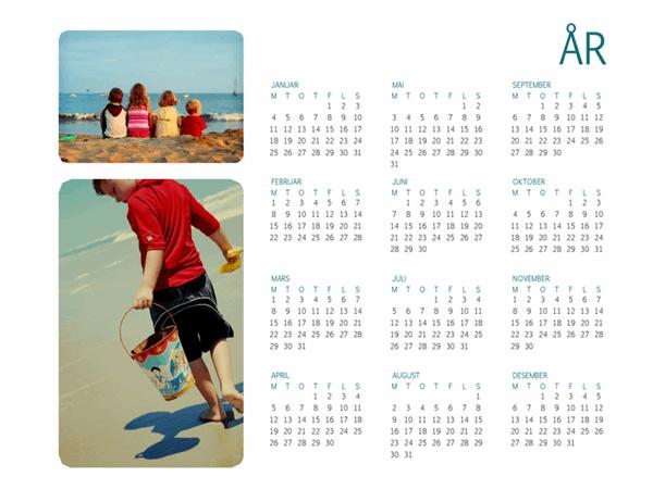 Familiefoto-kalender (et hvilket som helst år, én side)