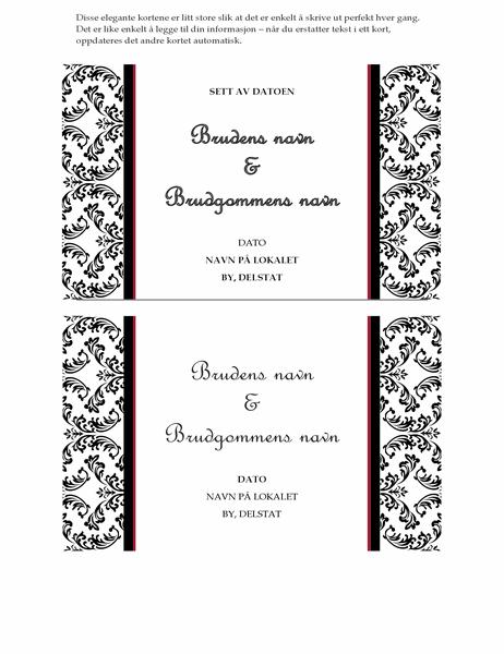 Bryllupskort for å sette av datoen (Svart og hvit bryllupsutforming)