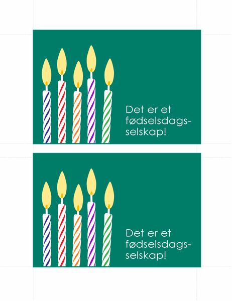 Postkort for fødselsdagsinvitasjon (2 per side)
