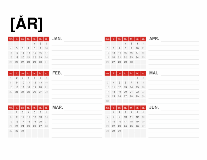 Kalender for hvilket som helst år