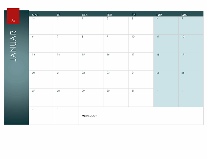 Kalender for hvilket som helst år (Ion-tema)