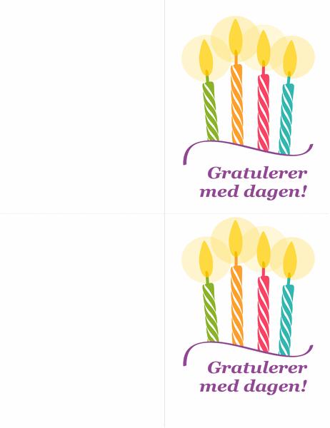 Fødselsdagskort (to per side)
