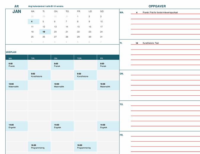 Studentkalender (Mandag)