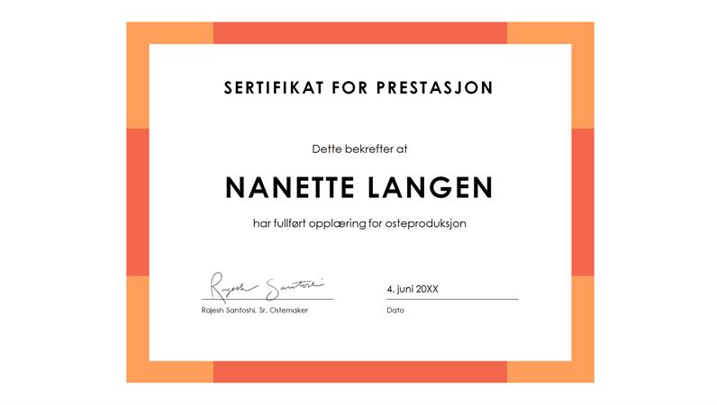 Diplom for prestasjon (blått)