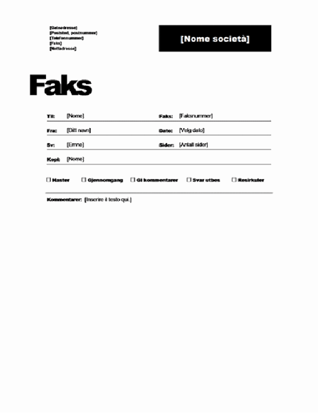 Faksforside