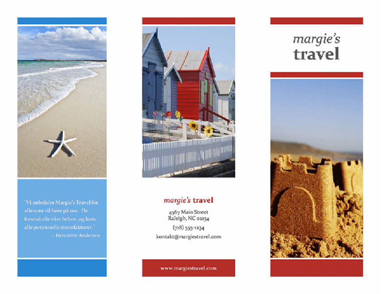 Reisebrosjyre med tre bretter (design i rødt, gull og blått)