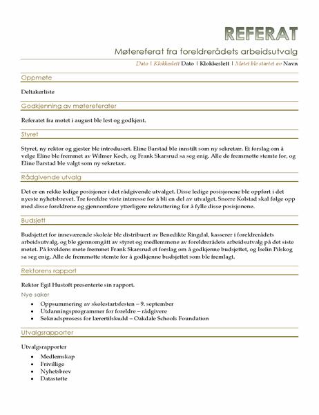 Møtereferat fra foreldrerådets arbeidsutvalg