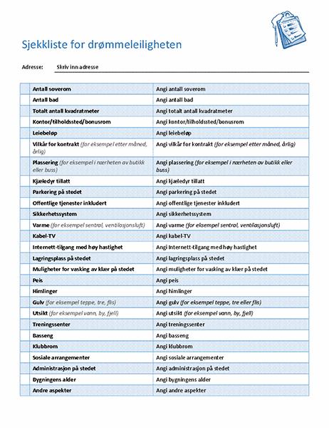 Sjekkliste for å velge drømmeleiligheten