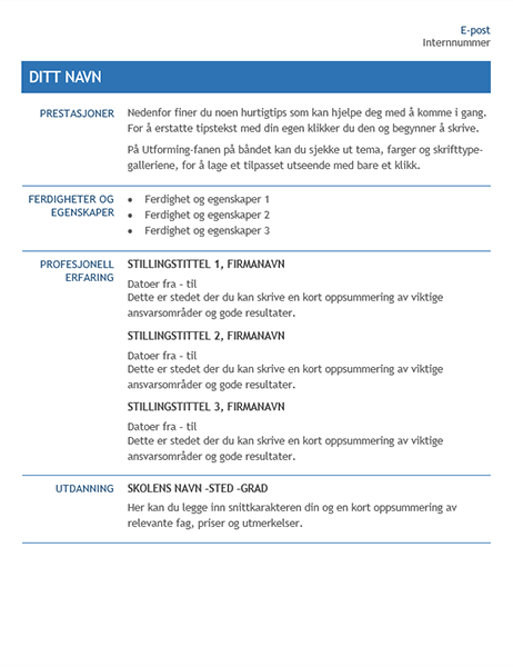 CV for intern overføring i bedriften