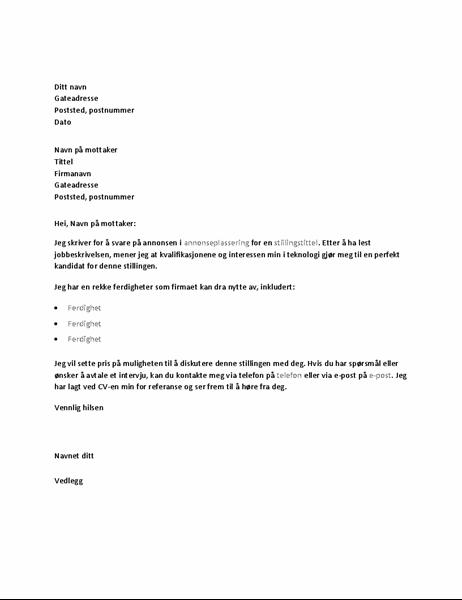 Eksempel på følgebrev som svar på annonse for en teknisk stilling