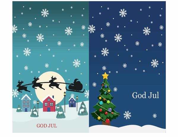 Julekort (design med julemotiv, 2 per side)
