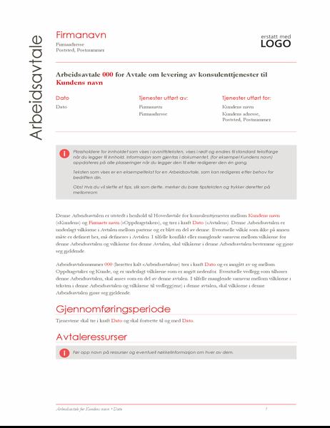 Rapport om arbeid (rød design)