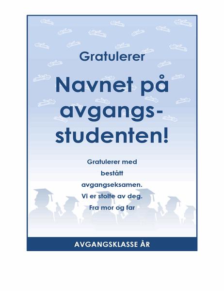 Gratulasjonskort for avgangsstudenter (Eksamensfest-utforming)