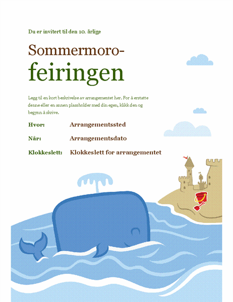 Flygeblad for sommerarrangement