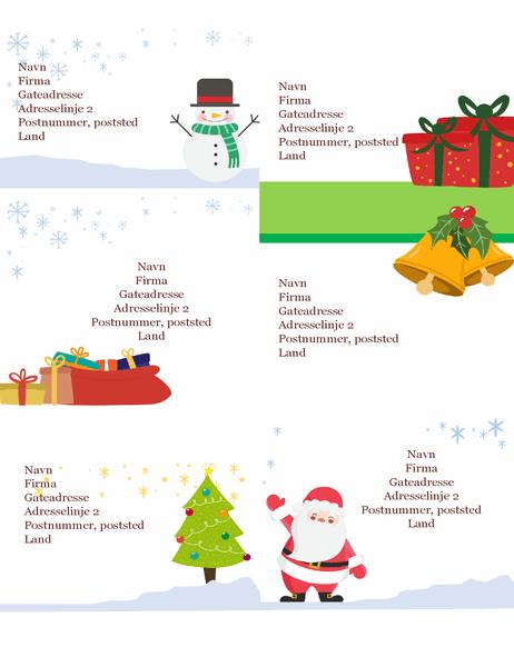 Forsendelsesetiketter for jul (design med julemotiv, 6 per side, fungerer med Avery 5164 og lignende)